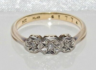 Art Deco 9ct Yellow Gold & Platinum Diamond Trilogy 3 Stone Ring size L