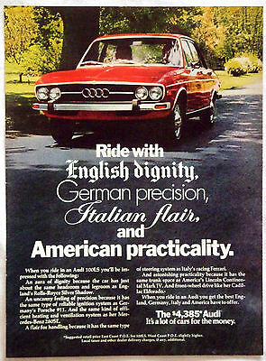 1970's Audi 100LS Car Auto Magazine Ad It's A Lot of Cars for the Money
