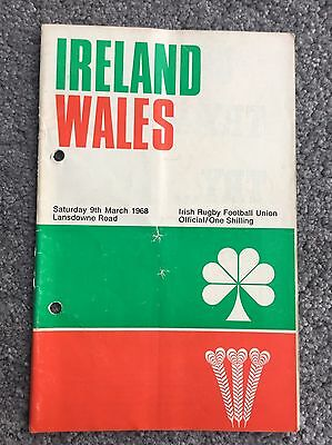 Ireland v Wales Rugby Programme 1968