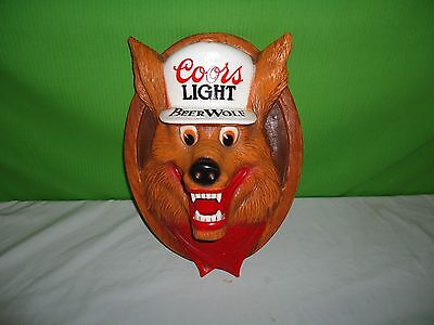 vintage 3D Coors Light Beer Wolf wall hanging bar decor mancave