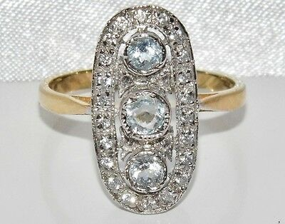 Art Deco 9ct Yellow Gold on Silver Natural Aquamarine Cluster Ring - size N