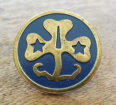 Vintage Trefoil Pin Blue & Gold Brownie Girl Scout Pin - Scouting