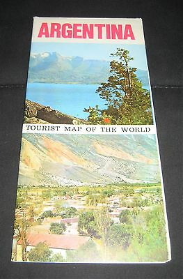 Vintage 1960s Argentina Tourist Map of the World-Buenos Aires, Tierra Del Fuego