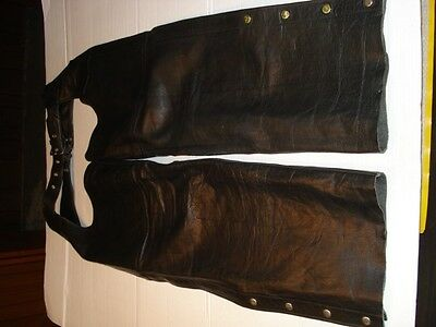 Leather Motorcycle Chaps XL 40-34 Waist x 42 Total Length