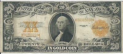 Series of 1922 $20 US Gold Certificate FR-1187 Speelman-White Fine Plus #698