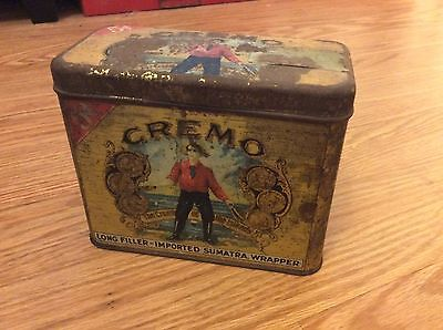 very old CREMO Cigars store tin advertising display