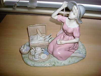 Lladro Style Figurine Woman with Picnic Basket