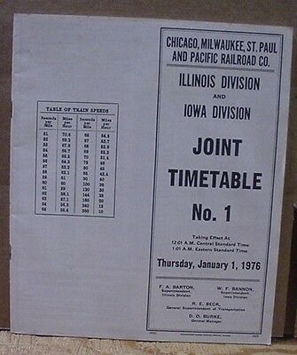 Chicago Milwaukee St Paul & Pacific ETT #1 1976 IL IA Employee Timetable