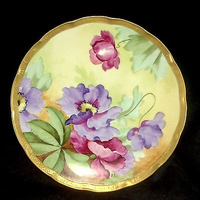 """Ginori Hand Painted Flowers Gilt Gold Trim 8 7/8"""" Plate Vintage Italy Firenze"""