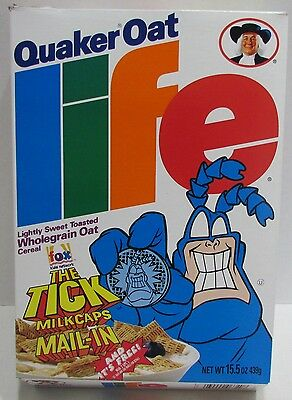 Quaker Life Cereal Box with The Tick Milk Caps Offer 1996