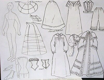 """c. 1853-58~COMPLETE ~ PARIAN OR CHINA  HEAD WARDROBE FOR 13"""" LADY DOLL"""