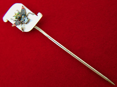 Antique Sterling Silver MOP Jeweled & Enamel Fly Insect Stick Hat Pin Fraternal