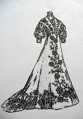 """1908 Costume De Mariee Wedding Dress And Slip Pattern For A 12.5"""" Lady Doll"""