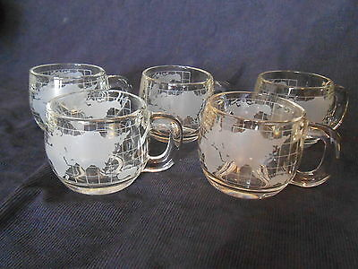 Vintage Lot of 5 Nestle Clear Glass World Coffee Cups Circa 1970's