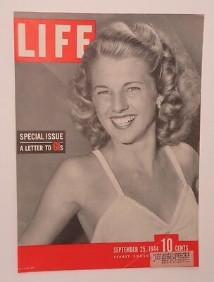 Original Life Magazine COVER ONLY September 25 1944 Special Issue to GIs