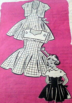 LOVELY VTG 1950s GIRLS DRESS & BOLERO Sewing Pattern 6