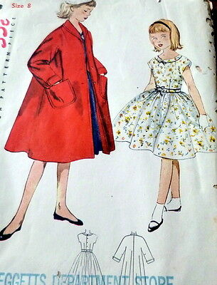 LOVELY VTG 1950s GIRLS DRESS & COAT Sewing Pattern 8