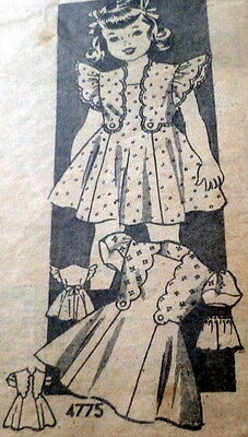 LOVELY VTG 1940s GIRLS DRESS & PANTIES Sewing Pattern 4