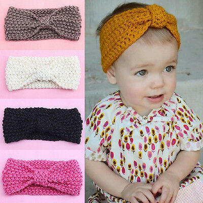Baby Kids Toddler Girl Warm Winter Hair Band Wrap Bow Headband Crochet Knit Cute