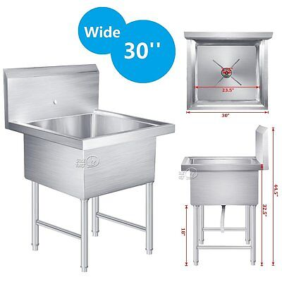 """Commercial Stainless Steel Kitchen Utility Sink Drop In Single Bowl - 30"""" Wide"""