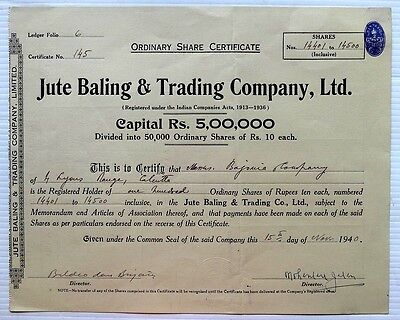 India 1940 Jute Baling & Trading Company share certificate