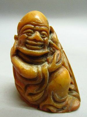 Chinese Shou Shan Stone Carved Buddha Shape Chop Stamp / Seal