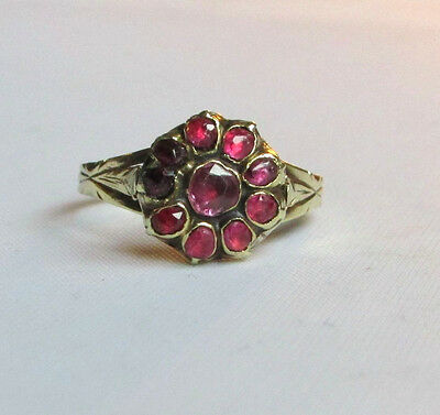 Old antique Victorian gold ruby ring size M