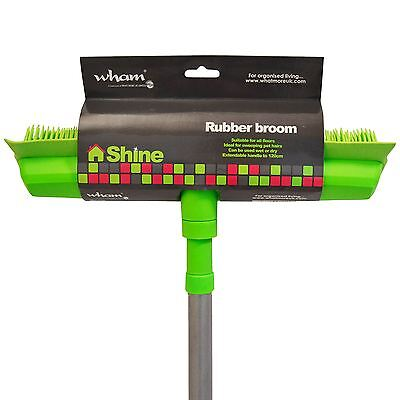 Rubber Squeegee Bristle Broom Brush Sweeping Pet Hair Remover Extendable Handle
