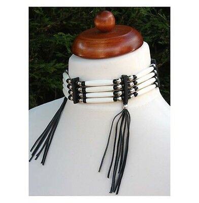 Native American Indian style bone choker hand crafted hair pipe fringe necklace