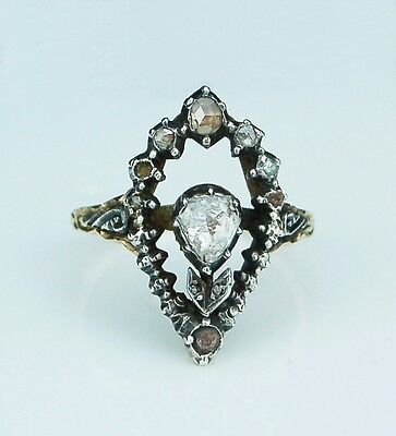 Antique Georgian Rose Cut Diamonds Flower Ring 18th Century