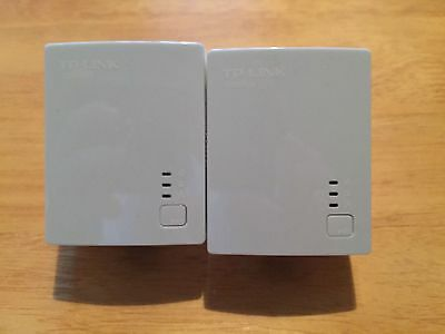 2 TP-Link 500Mbps Nano Powerline Ethernet Adapter Home Plug TL-PA411KIT & Cables