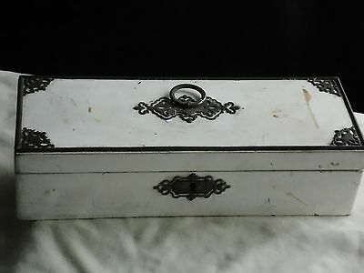 Vintage Wooden Box With Metal Decoration