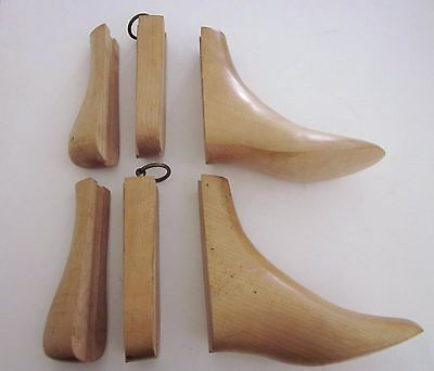 VTG Antique 3 Pc Wood Shoe Ankle Boot Forms Stretchers Inserts Solid Maple