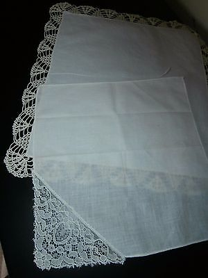 TWO VINTAGE 100% COTTON LADIES HANDKERCHIEFS ~ with LACE