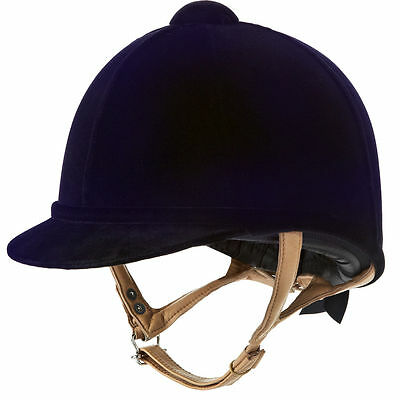 Charles Owen Fian velvet riding hat helmet, showing, navy, black