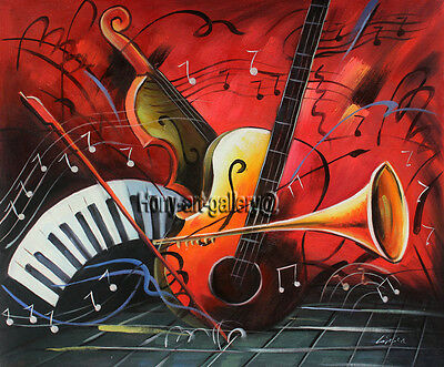 Handmade Modern Art Music abstract Oil Painting Canvas Home Wall Room Decor 2186