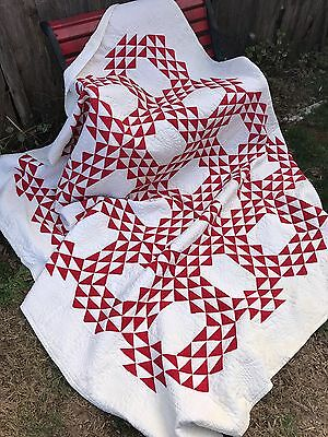 Antique Vintage Red & White Flying Geese Style Pattern Quilt