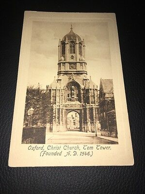 Antique Postcard Of Christ Church Tom Tower Oxford Oxfordshire