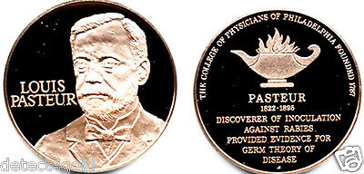 Louis Pasteur Philadelphia College of Physicians Bronze Proof Medal