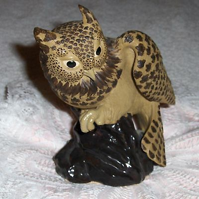 Vtg Large Spotted Brown Owl Figurine Hunting Owl Bird Perched On Pedestal Branch