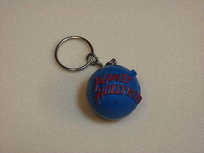 """Planet Hollywood Restaurant Round Rubber Plastic Ball Keychain Key Chain 1"""" Ring"""