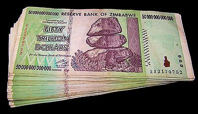 25 x Zimbabwe 50 Trillion Dollar banknotes / Circulated currency