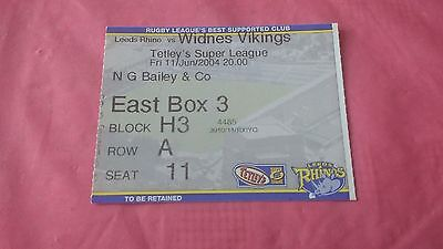 Leeds Rhino v Widnes Vikings 2004 Used Rugby League Ticket