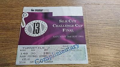 Castleford v Wigan 1992 Challenge Cup Final Used Rugby League Ticket