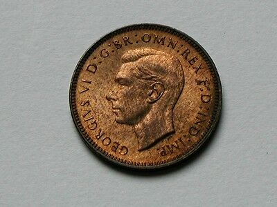 UK (Great Britain) 1948 FARTHING Coin King George VI UNC RED/BROWN Mint Lustre