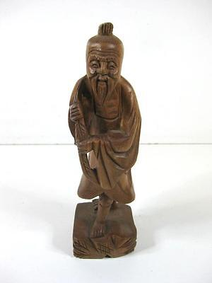 Vintage hand carved wooden Japanese / chinese carved gent figure