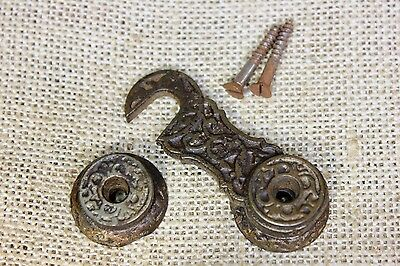Interior shutter latch cabinet catch old vintage screws iron Victorian vines