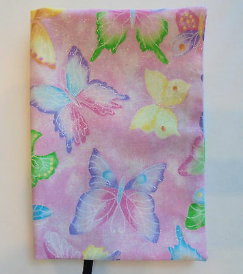 FABRIC Paperback Book Cover Standard Paperback Book Pink BUTTERFLY Print Pastel