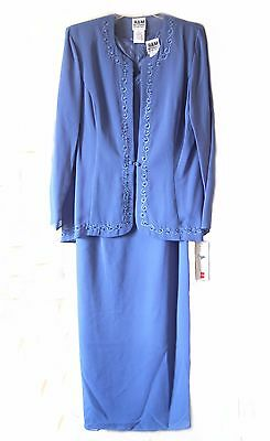 R&M RICHARDS 16 BLUE MOTHER of BRIDE BEADED FORMAL 2pc JACKET DRESS Long Sleeve