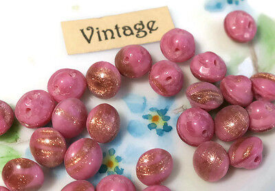 "Vintage Buttons Foil Pink Gold Tiny Self Shank 1/4"" 6mm Doll NOS Czech NOS #33F"